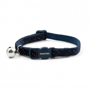 Ancol Velvet Sparkle Cat Collar Navy Blue