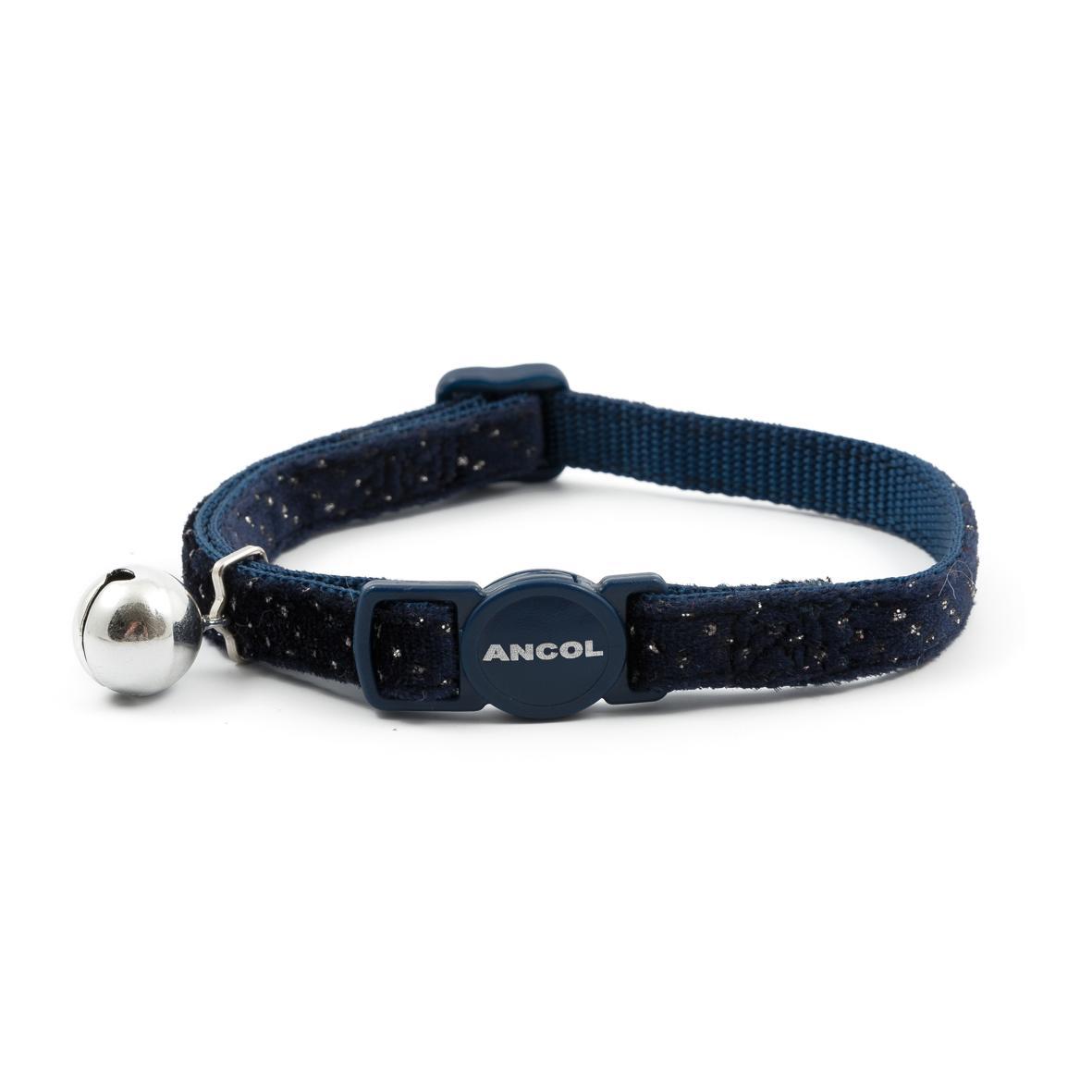 CLEARANCE ANCOL Velvet Sparkle Cat Collar Navy Blue 20-30cm