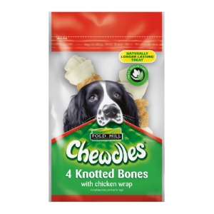 Chewdles Knotted Bones with Chicken WRap 4pcs