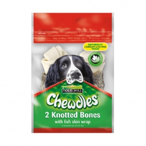Chewdles Knotted Bones with Fish Skin WRap 2pcs