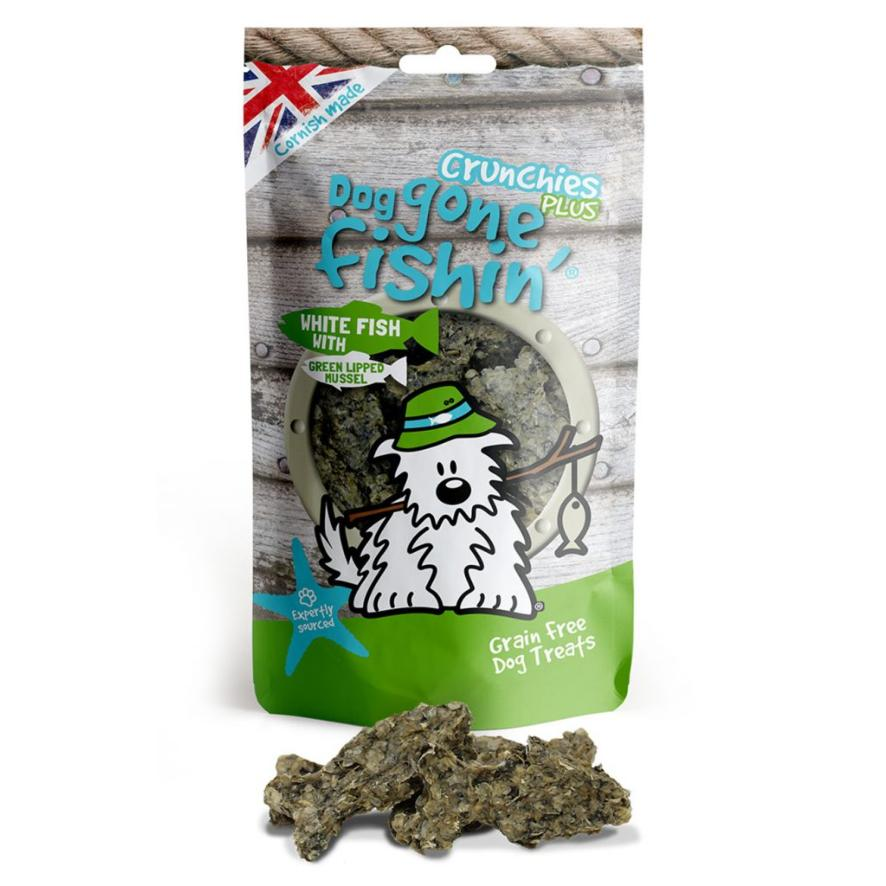 Dog Gone Fishin Crunchies PLUS White Fish with Green Lipped Mussel 75gm