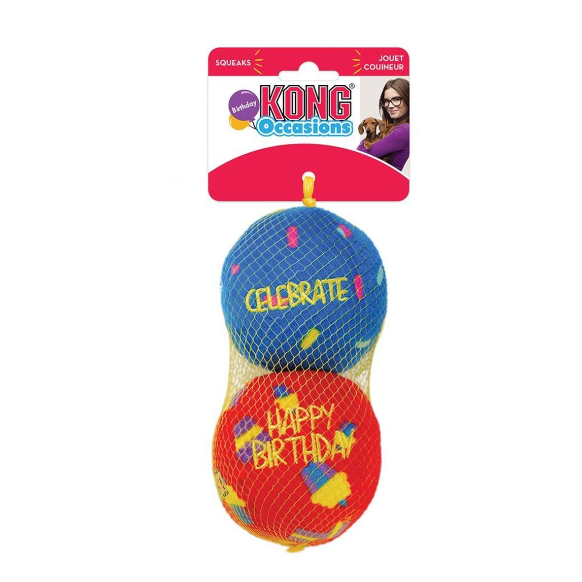 KONG Occasions Birthday Balls 7.5cm 2pk