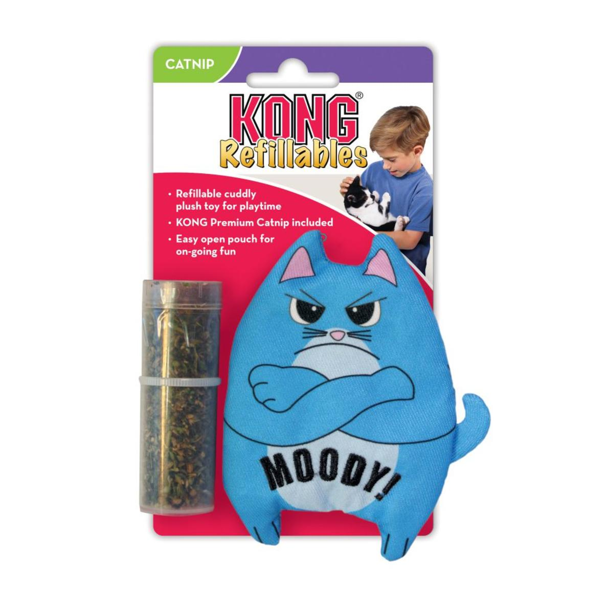 KONG Refillables Purrsonality Moody Cat with Catnip 10.5cm