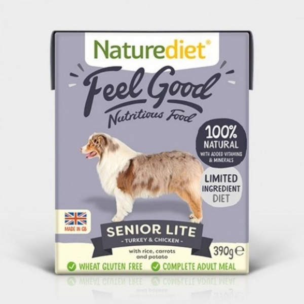 Naturediet Feel Good Senior Lite Turkey with Chicken, Rice, Carrots and Peas 390gm
