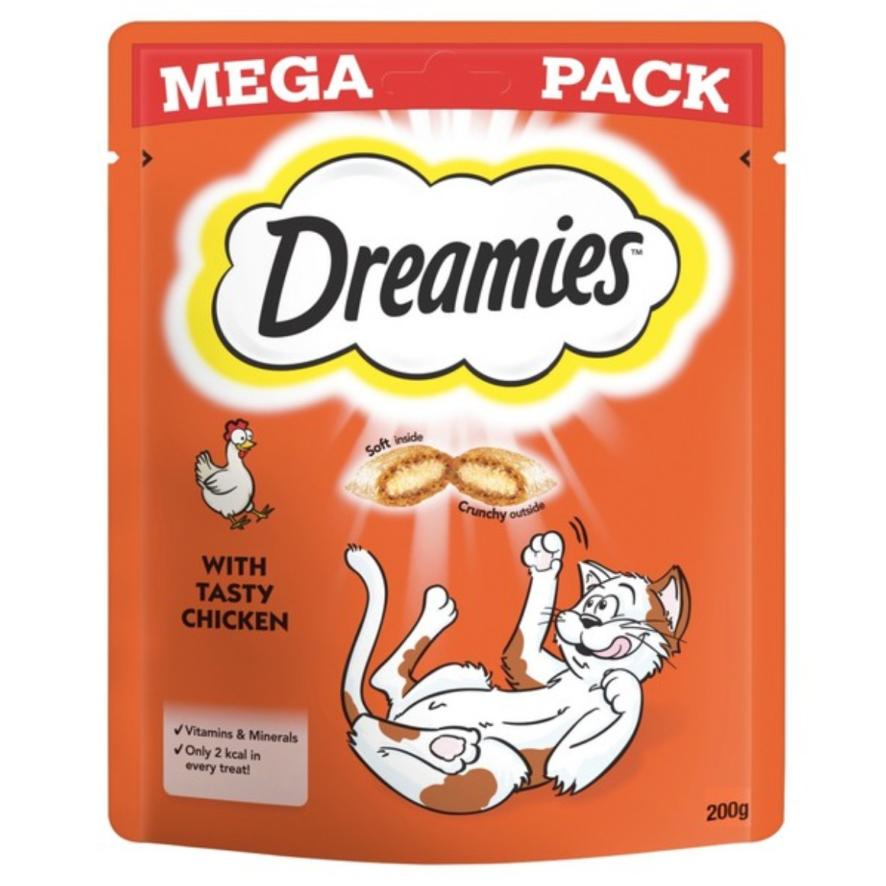 CLEARANCE Dreamies Cat Treats with Chicken MEGA PACK 200gm