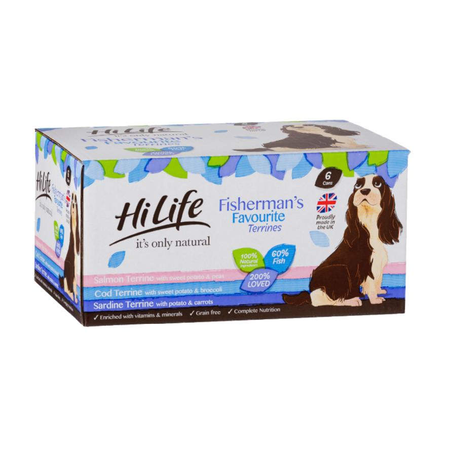 HiLife Natural Fishermans Favourites Terrines for Dogs 12 x 395gm (Grain Free)  616885