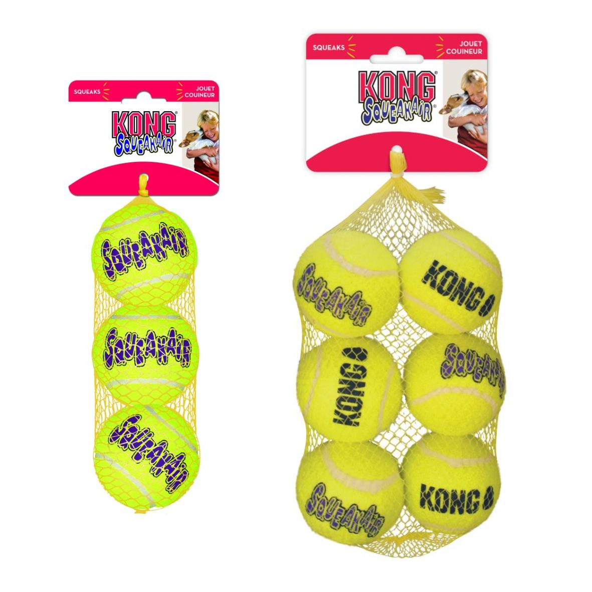 KONG SqueakAir Tennis Balls MEDIUM 2.5″ 3pcs