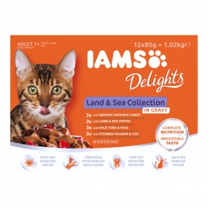 IAMS Delights Land & Sea Collection in Gravy 12 x 85gm