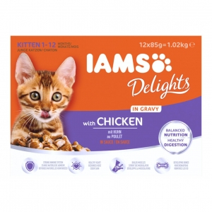 IAMS Delights Kitten Pouches with Chicken in Gravy 12 x 85gm