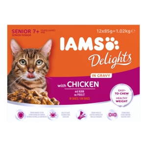 IAMS Delights Senior Cat Pouches with Chicken