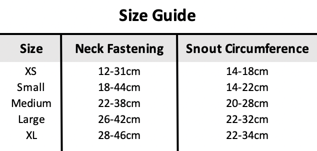 Pawise Muzzle Size Guide