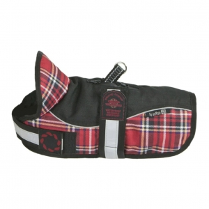 Animate Padded Harness Dog Coat Black/Red Tartan