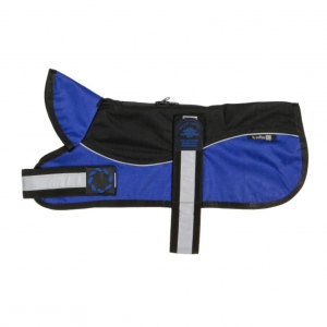 Animate Two-Tone Harness Dog Coat Black/Blue