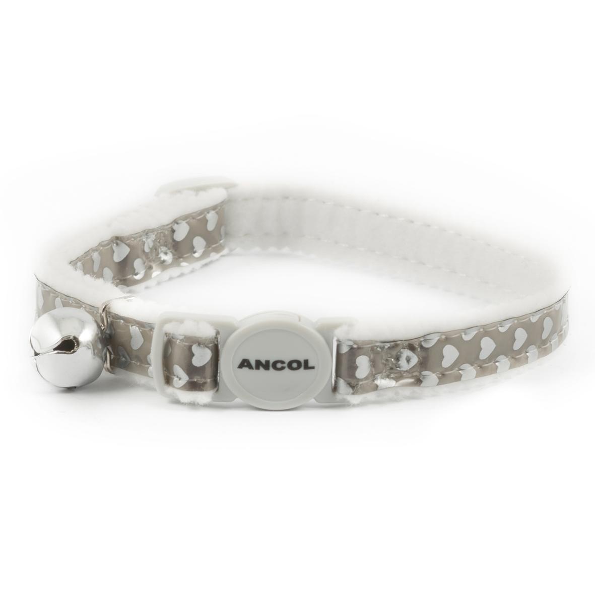 ANCOL Reflective Gloss Cat Collar Silver Hearts 20-30cm