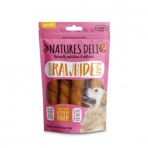 Natures Deli Smoked Rawhide Twists Chicken Liver Centre 5pcs