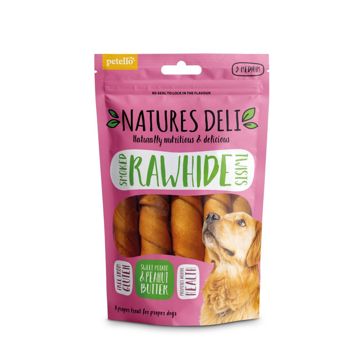 CLEARANCE Natures Deli Smoked Rawhide Twists Sweet Potato & Peanut Butter Medium 5pcs