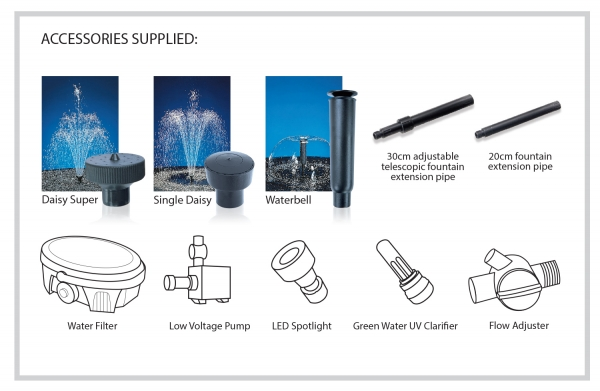Blagdon Inpond 5 in 1 Filtration Kit 3000 CONTENTS