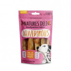 Natures Deli Chicken Glazed Rawhide Rolls 5pcs Medium