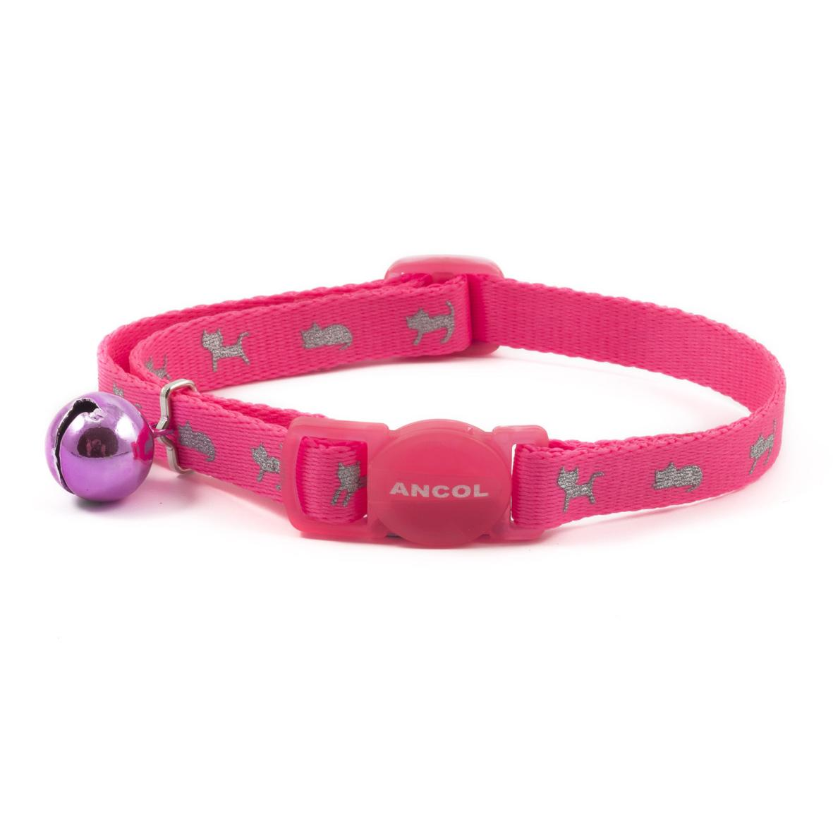 CLEARANCE Ancol Neon Reflective Kitten Collar Pink 15-22cm