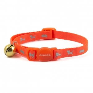 Ancol Neon Reflective Kitten Collar Orange 15-22cm