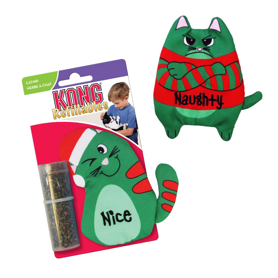 KONG Holiday Refillables Purrsonality Cat with Catnip 10cm (Two Designs)