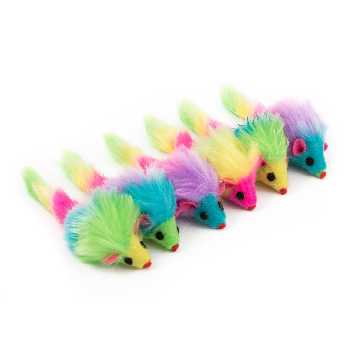 CLEARANCE ANCOL Furry Rainbow Mice 6pcs