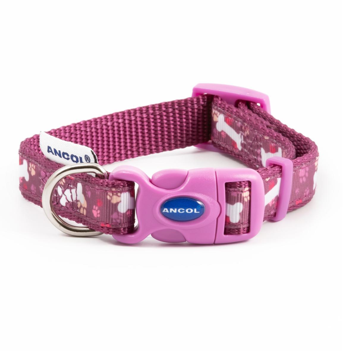 CLEARANCE Ancol Fashion Purple Bone Collar Medium 30-50cm