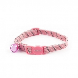 Ancol Softweave Reflective Cat Collar Pink with Breakaway Buckle