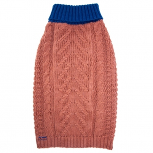 Sotnos Contrast Cable Knit Sweater Coral