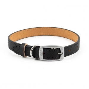 Ancol Heritage Diamond Leather Collar Black