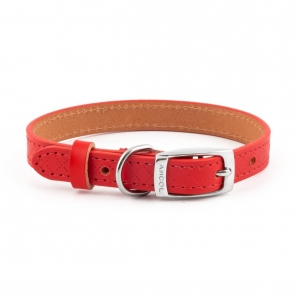 Ancol Heritage Diamond Leather Collar Red Small