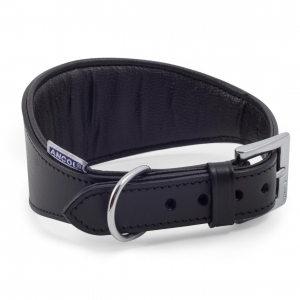 Ancol Heritage Padded Leather Hound Collar Black