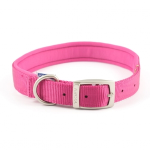 Ancol Heritage Padded Nylon Collar Raspberry Pink
