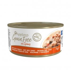 Applaws Cat Grain Free Beef with Tomato in Gravy 24 x 70gm