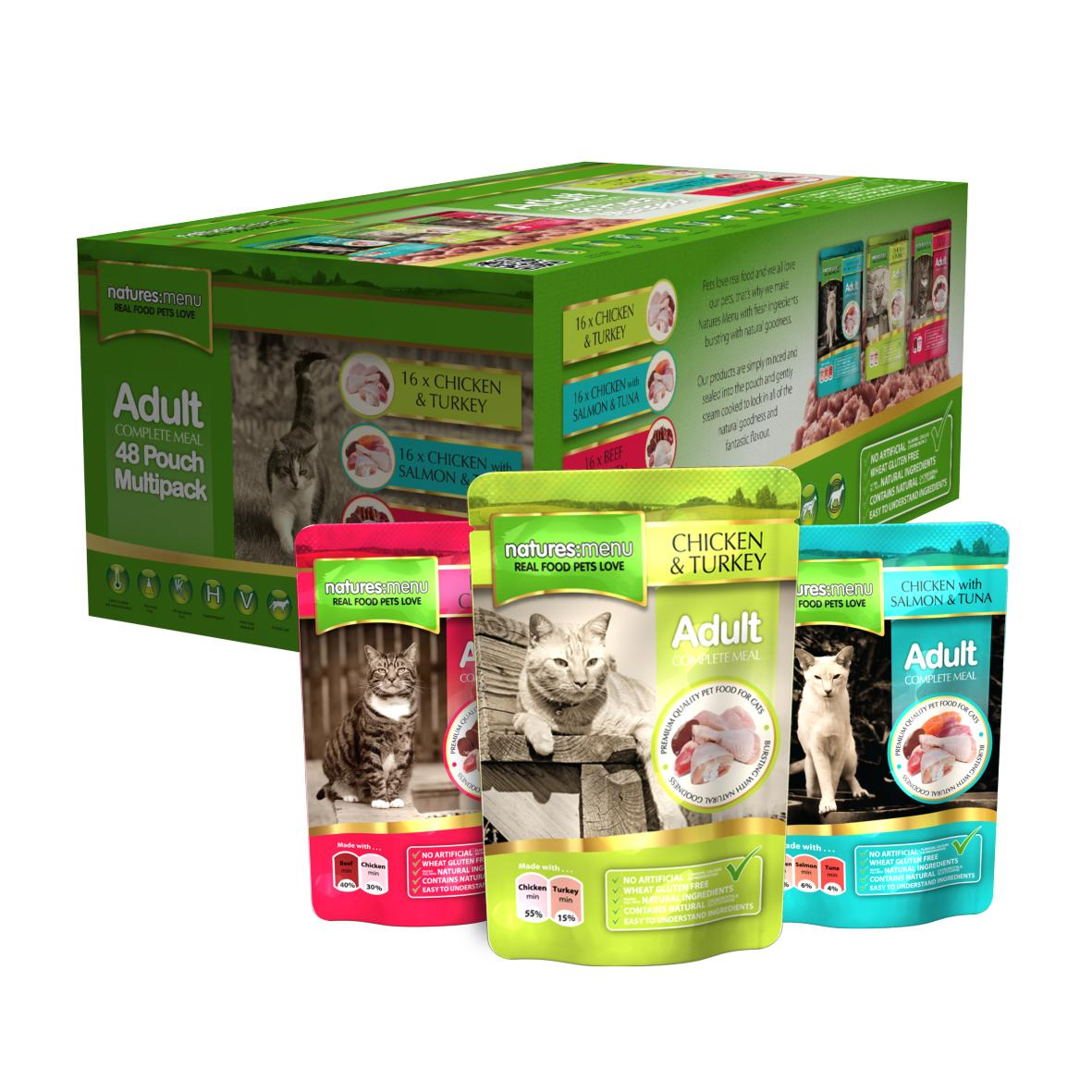 Natures Menu Adult Complete Multipack Cat Pouches 48 x 100gm