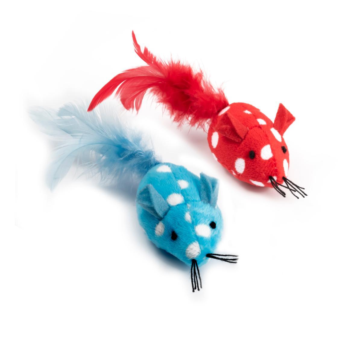 ANCOL Polka Mice with Catnip 13cm 2pcs