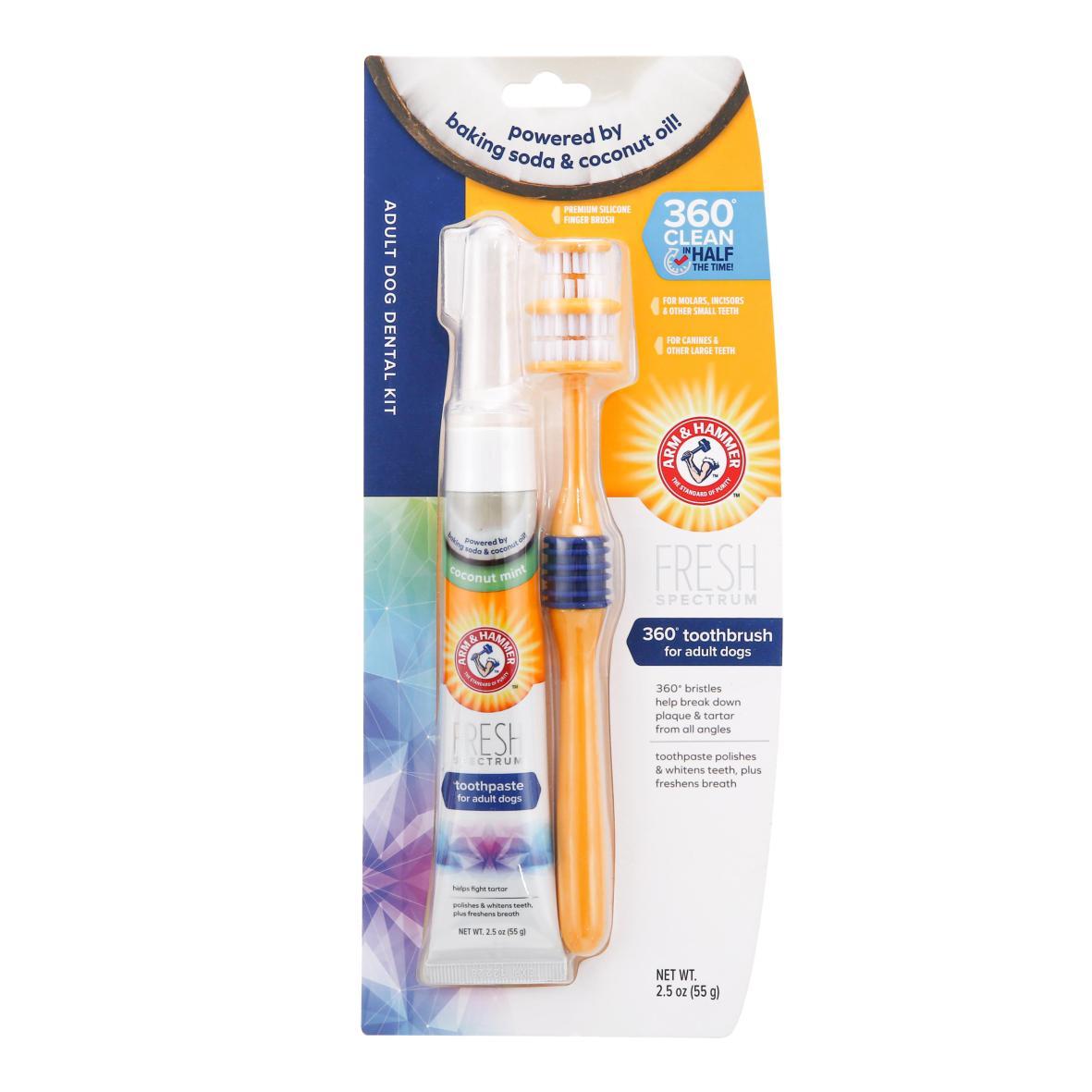 Arm & Hammer Adult Dog Dental Kit with 360° Toothbrush, Finger Brush & Toothpaste 55g