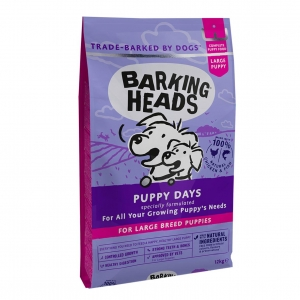 BARKING HEADS Large Breed Puppy Days with Chicken, Salmon & Brown Rice 12kg (Wheat Free)