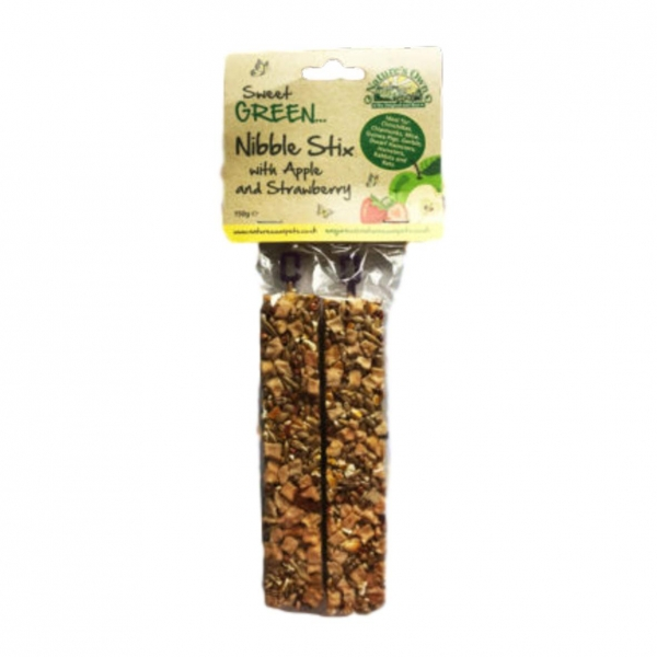 Natures Own Sweet Green Nibble Stx with Strawberry and Apple 2pcs