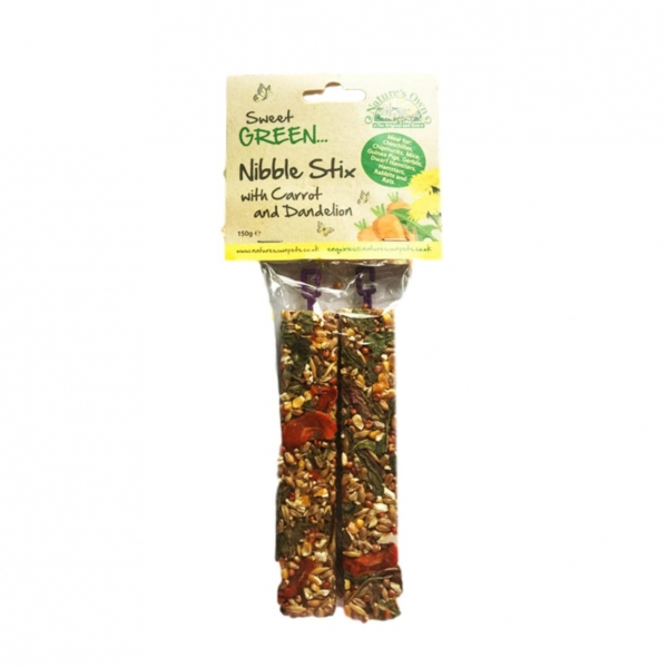 Natures Own Sweet Green Nibble Stx with Carrot and Dandelion 2pcs