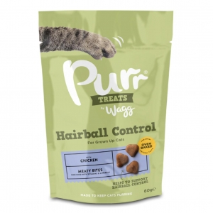 Wagg Purr Treats Hairball Control Meaty Bites with Chicken 60gm