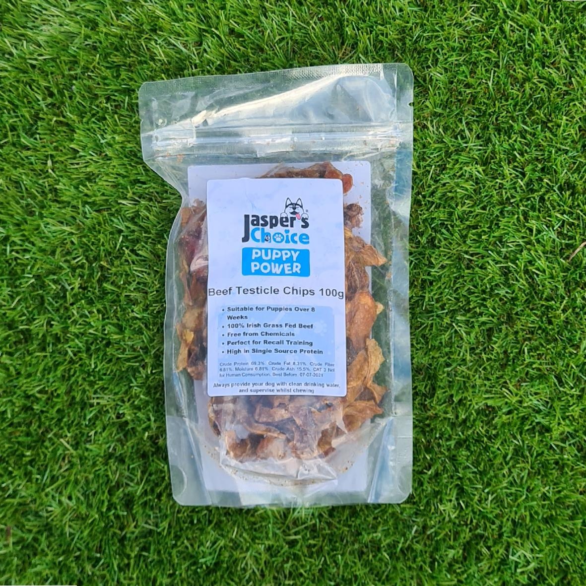 Jaspers Choice PUPPY POWER Beef Testicle Chips 100gm