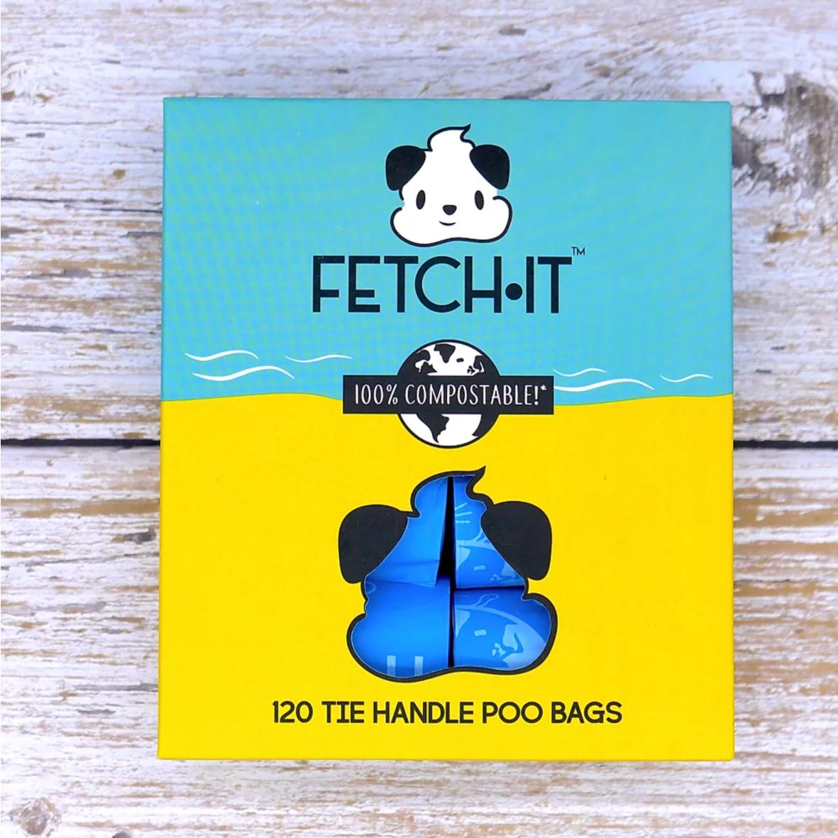 FETCHIT Poo Bags with Tie Handles 120pcs (100% Compostable)