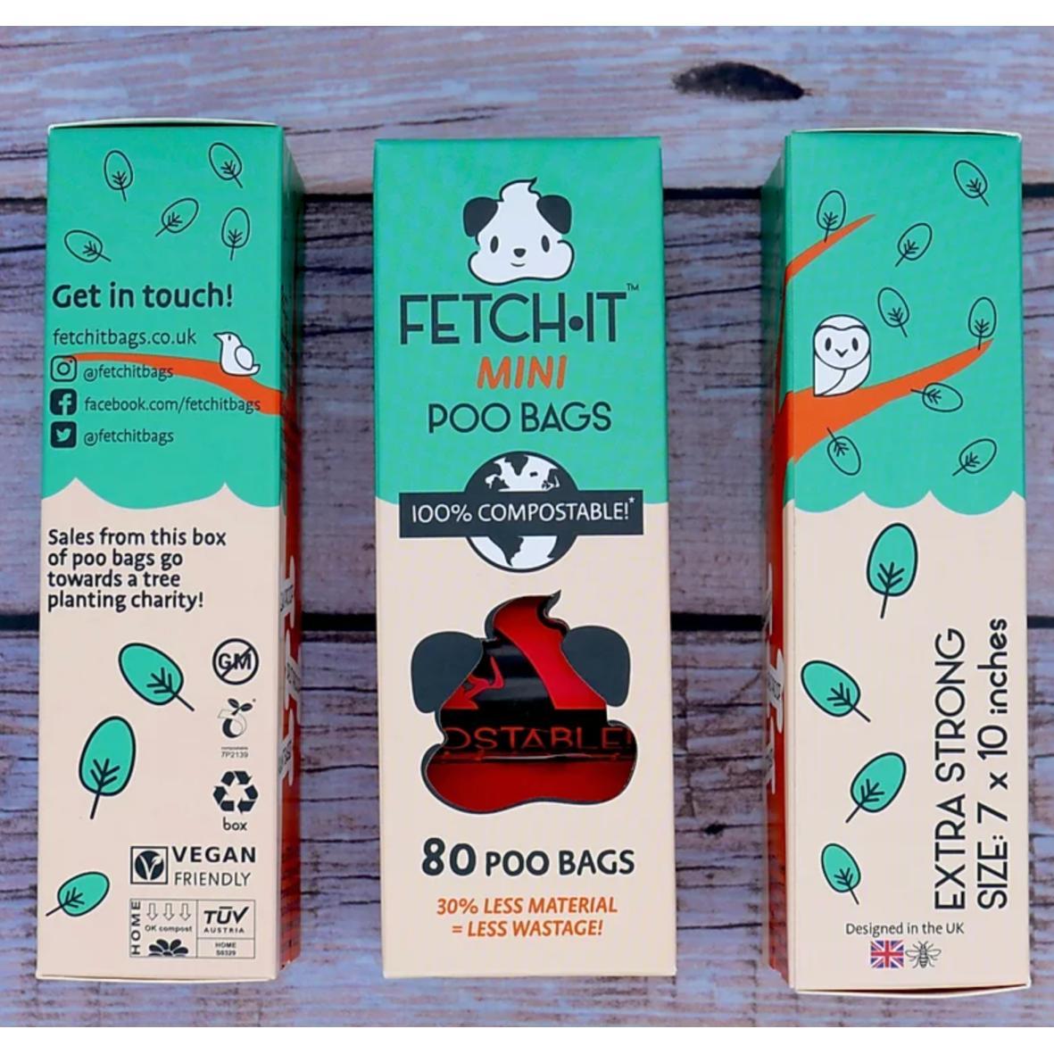 FETCHIT Mini Poo Bags 80pcs (100% Compostable)