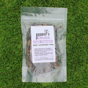 Jaspers Choice PURE TRAINERS Beef Chunkies 100gm (Grain Free)