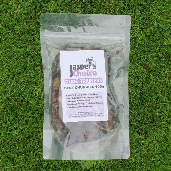Jaspers Choice PURE TRAINERS Beef Chunkies 100gm (Grain Free)