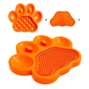 PAW 2 in 1 Combo Feeder & Lick Pad Orange