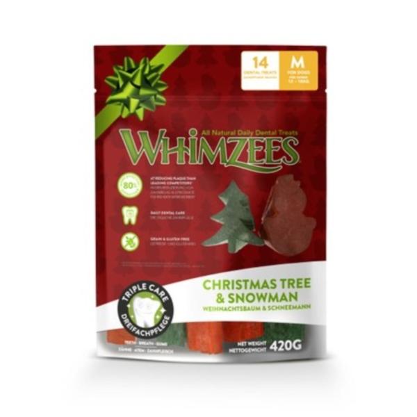 Whimzees Christmas Tree & Snowman Chews Medium 14pcs