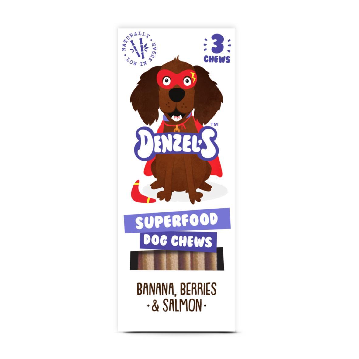 Denzels Superfood Dog Chews Banana, Berries & Salmon 3pk