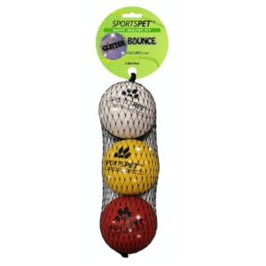 SportsPet Glitter High Bounce Balls 3pcs